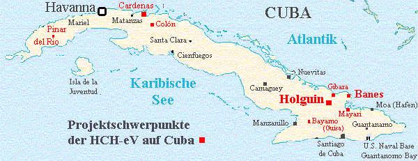Havanna Kuba Karte.Die Projekte Der Hch E V Humanitären Cuba Hilfe In Der übersicht