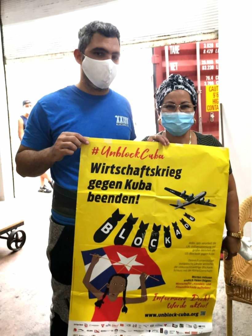 Unblock Cuba Plakat wird gezeigt